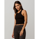 BOZZOLO High Neck Racerback Black Womens Crop Tank Top