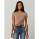 HEART & HIPS Twist Front Taupe Womens Crop Tee