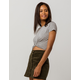 HEART & HIPS Twist Front Heather Gray Womens Crop Tee