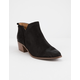 QUPID Side Notch Black Womens Heeled Booties