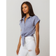 MY BELOVED Tie Front Blue Womens Camp Top