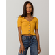 SOCIAL GYPSY Ribbed Button Front Mustard Womens Top