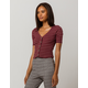 SOCIAL GYPSY Ribbed Button Front Burgundy Womens Top