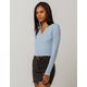 GOOD LUCK GEM Thermal Light Blue Womens Crop Top