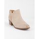 QUPID Side Notch Taupe Womens Heeled Booties
