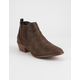 QUPID Distressed Brown Womens Heeled Booties