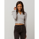 GOOD LUCK GEM Thermal Heather Gray Womens Crop Top