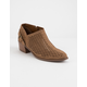 QUPID Perforated Low Tan Womens Booties