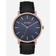 NIXON Porter Leather Rose Gold & Storm Watch