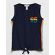 FULL TILT Rainbow Stripe Tie Front Girls Tank Top