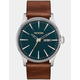NIXON Sentry Leather Dark Green & Dark Brown Watch