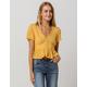 SKY AND SPARROW Button Waist Peplum Mustard Womens Crop Top