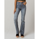 SKY AND SPARROW Exposed Button High Waisted Womens Flare Jeans