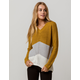 POLLY & ESTHER Color Block Mustard Womens Sweater