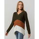 POLLY & ESTHER Color Block Olive Womens Sweater
