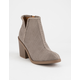 SODA Tarpon Gray Womens Heeled Booties