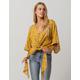 POLLY & ESTHER Kimono Front Tie Mustard Womens Blouse