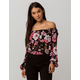 BILLABONG Mi Amore Black Womens Off The Shoulder Top