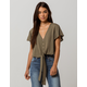 JOLIE Tie Front Olive Womens Crop Top