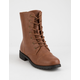 WILD DIVA Lace Up Cognac Womens Combat Boots