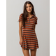 SKY AND SPARROW Stripe Zip Fit N Flare Dress