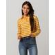 FULL TILT Stripe Mustard Crop Womens Polo Shirt