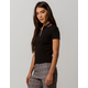 POLLY & ESTHER Ribbed Black Womens Polo Tee