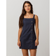 SKY AND SPARROW Linen Side Button Navy Structured Dress