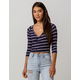 SKY AND SPARROW Stripe Surplice Navy Womens Crop Top
