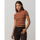 SKY AND SPARROW Ribbed Mock Neck Womens Tee
