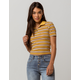 SKY AND SPARROW Ribbed Half Zip Mustard Womens Tee