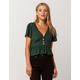 SKY AND SPARROW Button Waist Peplum Emerald Womens Crop Top