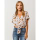 SKY AND SPARROW Floral Button Front Womens Top