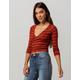 SKY AND SPARROW Stripe Surplice Rust Womens Crop Top