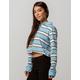 FULL TILT Stripe Light Blue Crop Womens Polo Shirt