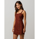 SKY AND SPARROW Linen Side Button Burgundy Structured Dress