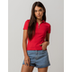 POLLY & ESTHER Ribbed Red Womens Polo Tee