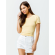 BOZZOLO Ribbed Lettuce Edge Yellow Womens Crop Tee