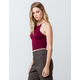 BOZZOLO Elastic Strap Racerback Burgundy Womens Crop Tank Top