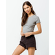 BOZZOLO Ribbed Lettuce Edge Gray Womens Crop Tee