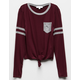 WHITE FAWN Varsity Tie Front Burgundy Girls Pocket Tee