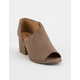 QUPID Open Side Peep Toe Taupe Womens Booties