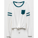 WHITE FAWN Varsity Tie Front Girls Pocket Tee