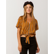 SKY AND SPARROW Stripe Button Front Womens Top