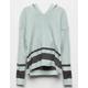 WHITE FAWN Varsity Stripe Mint Girls Hooded Sweater