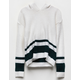 WHITE FAWN Varsity Stripe White Girls Hooded Sweater