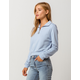 FULL TILT Half Zip Light Blue Womens Crop Sweatshirt
