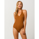 SKY AND SPARROW Halter Camel Womens Bodysuit
