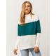 POOF Color Block Mock Neck Cream Womens Sweater