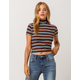 SKY AND SPARROW Ribbed Mock Neck Navy Womens Tee